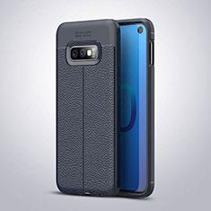 Samsung Galaxy S10e用シリコンケース ソフトタッチラバー レザー柄 S03 サムスン ネイビー