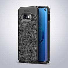 Samsung Galaxy S10e用シリコンケース ソフトタッチラバー レザー柄 S03 サムスン ブラック