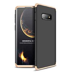 Samsung Galaxy S10e用ハードケース プラスチック 質感もマット 前面と背面 360度 フルカバー サムスン ゴールド・ブラック