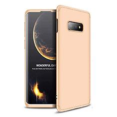 Samsung Galaxy S10e用ハードケース プラスチック 質感もマット 前面と背面 360度 フルカバー サムスン ゴールド