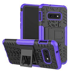 Samsung Galaxy S10e用ハイブリットバンパーケース スタンド プラスチック 兼シリコーン カバー サムスン パープル