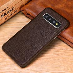 Samsung Galaxy S10e用ケース 高級感 手触り良いレザー柄 P01 サムスン ブラウン