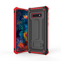 Samsung Galaxy S10e用ハイブリットバンパーケース スタンド プラスチック 兼シリコーン カバー T01 サムスン レッド・ブラック