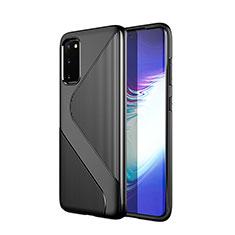 Samsung Galaxy S20 5G用シリコンケース ソフトタッチラバー ライン カバー S01 サムスン ブラック