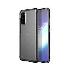Samsung Galaxy S20 5G用極薄ソフトケース シリコンケース 耐衝撃 全面保護 クリア透明 H02 サムスン ブラック