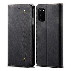 Samsung Galaxy S20 5G用手帳型 布 スタンド サムスン ブラック