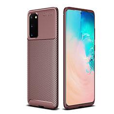 Samsung Galaxy S20 5G用シリコンケース ソフトタッチラバー ツイル カバー S02 サムスン ブラウン