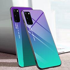 Samsung Galaxy S20 5G用ハイブリットバンパーケース プラスチック 鏡面 虹 グラデーション 勾配色 カバー サムスン マルチカラー