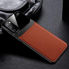 Samsung Galaxy S20 5G用シリコンケース ソフトタッチラバー レザー柄 カバー H04 サムスン ブラウン