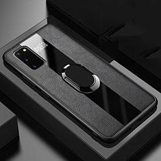 Samsung Galaxy S20 5G用シリコンケース ソフトタッチラバー レザー柄 アンド指輪 マグネット式 T01 サムスン ブラック