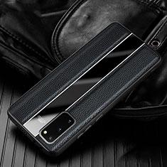 Samsung Galaxy S20 5G用シリコンケース ソフトタッチラバー レザー柄 カバー H02 サムスン ブラック