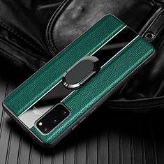 Samsung Galaxy S20 5G用シリコンケース ソフトタッチラバー レザー柄 アンド指輪 マグネット式 T02 サムスン グリーン