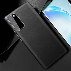 Samsung Galaxy S20 5G用ケース 高級感 手触り良いレザー柄 R01 サムスン ブラック