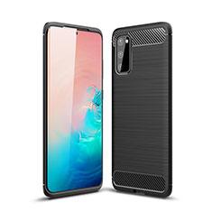 Samsung Galaxy S20 5G用シリコンケース ソフトタッチラバー ライン カバー C01 サムスン ブラック