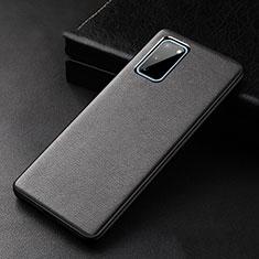 Samsung Galaxy S20 5G用ケース 高級感 手触り良いレザー柄 R02 サムスン ブラック