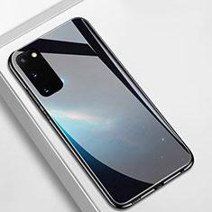 Samsung Galaxy S20 5G用ハイブリットバンパーケース プラスチック パターン 鏡面 カバー M01 サムスン ブラック