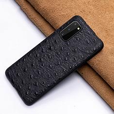 Samsung Galaxy S20 5G用ケース 高級感 手触り良いレザー柄 R03 サムスン ブラック