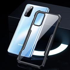 Samsung Galaxy S20 5G用ハイブリットバンパーケース クリア透明 プラスチック 鏡面 カバー H01 サムスン ブラック