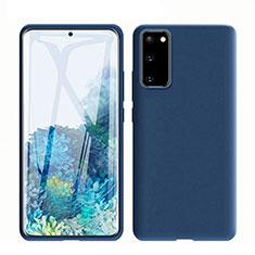 Samsung Galaxy S20 5G用360度 フルカバー極薄ソフトケース シリコンケース 耐衝撃 全面保護 バンパー C01 サムスン ネイビー