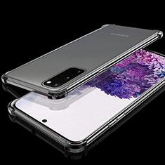 Samsung Galaxy S20 5G用極薄ソフトケース シリコンケース 耐衝撃 全面保護 クリア透明 S03 サムスン ブラック