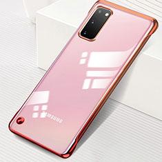 Samsung Galaxy S20 5G用ハードカバー クリスタル クリア透明 S01 サムスン レッド
