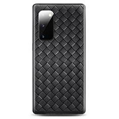 Samsung Galaxy S20 5G用シリコンケース ソフトタッチラバー レザー柄 カバー H03 サムスン ブラック