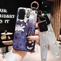 Samsung Galaxy S20 5G用シリコンケース ソフトタッチラバー 花 カバー M01 サムスン ネイビー