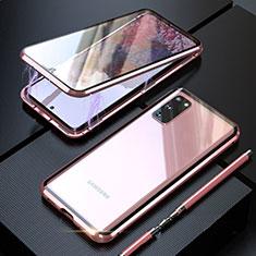 Samsung Galaxy S20 5G用ケース 高級感 手触り良い アルミメタル 製の金属製 360度 フルカバーバンパー 鏡面 カバー T01 サムスン ローズゴールド