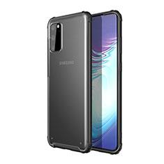 Samsung Galaxy S20 5G用ハイブリットバンパーケース クリア透明 プラスチック 鏡面 カバー H02 サムスン ブラック