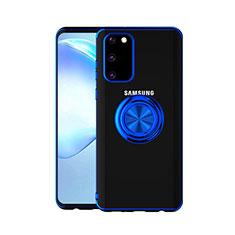Samsung Galaxy S20 5G用極薄ソフトケース シリコンケース 耐衝撃 全面保護 クリア透明 アンド指輪 マグネット式 C01 サムスン ネイビー