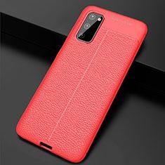 Samsung Galaxy S20 5G用シリコンケース ソフトタッチラバー レザー柄 カバー H05 サムスン レッド
