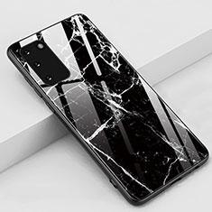 Samsung Galaxy S20 5G用ハイブリットバンパーケース プラスチック パターン 鏡面 カバー M02 サムスン ブラック