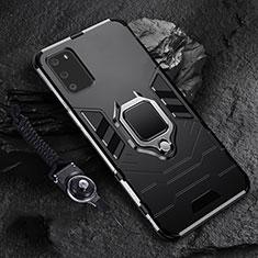 Samsung Galaxy S20 5G用ハイブリットバンパーケース プラスチック アンド指輪 マグネット式 R02 サムスン ブラック