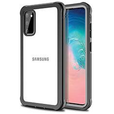Samsung Galaxy S20 5G用360度 フルカバーハイブリットバンパーケース クリア透明 プラスチック 鏡面 サムスン ブラック