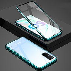 Samsung Galaxy S20 5G用ケース 高級感 手触り良い アルミメタル 製の金属製 360度 フルカバーバンパー 鏡面 カバー T02 サムスン グリーン