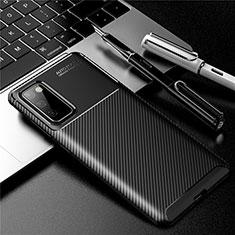 Samsung Galaxy S20 FE 5G用シリコンケース ソフトタッチラバー ツイル カバー サムスン ブラック