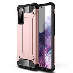 Samsung Galaxy S20 FE 5G用ハイブリットバンパーケース プラスチック 兼シリコーン カバー サムスン ローズゴールド