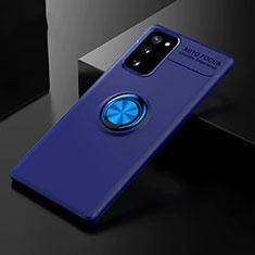 Samsung Galaxy S20 FE 5G用極薄ソフトケース シリコンケース 耐衝撃 全面保護 アンド指輪 マグネット式 バンパー サムスン ネイビー