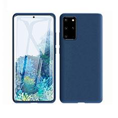 Samsung Galaxy S20 Plus 5G用360度 フルカバー極薄ソフトケース シリコンケース 耐衝撃 全面保護 バンパー C02 サムスン ネイビー