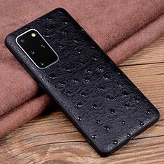 Samsung Galaxy S20 Plus 5G用ケース 高級感 手触り良いレザー柄 R05 サムスン ブラック