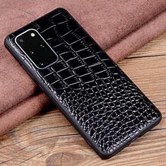 Samsung Galaxy S20 Plus 5G用ケース 高級感 手触り良いレザー柄 R06 サムスン ブラック