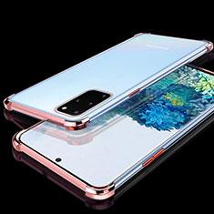 Samsung Galaxy S20 Plus 5G用極薄ソフトケース シリコンケース 耐衝撃 全面保護 クリア透明 S02 サムスン ローズゴールド