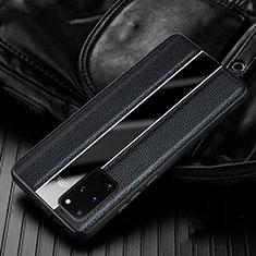 Samsung Galaxy S20 Plus 5G用シリコンケース ソフトタッチラバー レザー柄 カバー H03 サムスン ブラック
