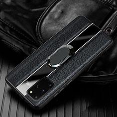 Samsung Galaxy S20 Plus 5G用シリコンケース ソフトタッチラバー レザー柄 カバー H04 サムスン ブラック