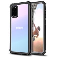 Samsung Galaxy S20 Plus 5G用360度 フルカバーハイブリットバンパーケース クリア透明 プラスチック 鏡面 サムスン ブラック