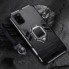 Samsung Galaxy S20 Plus 5G用ハイブリットバンパーケース プラスチック アンド指輪 マグネット式 R02 サムスン ブラック