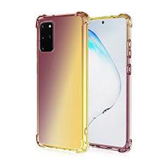 Samsung Galaxy S20 Plus用極薄ソフトケース グラデーション 勾配色 クリア透明 G01 サムスン ブラウン