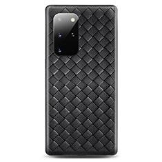 Samsung Galaxy S20 Plus用シリコンケース ソフトタッチラバー レザー柄 カバー H05 サムスン ブラック