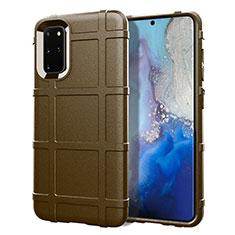 Samsung Galaxy S20 Plus用360度 フルカバー極薄ソフトケース シリコンケース 耐衝撃 全面保護 バンパー C04 サムスン ブラウン
