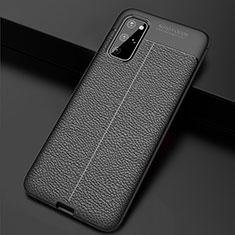 Samsung Galaxy S20 Plus用シリコンケース ソフトタッチラバー レザー柄 カバー H06 サムスン ブラック